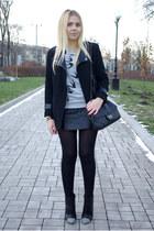 heather gray Sheinside sweatshirt - black Sheinside coat