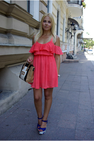 salmon Sheinside dress - nude OASAP bag - blue new look wedges