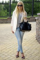 white Forever 21 jacket - sky blue Stradivarius jeans - white H&M shirt