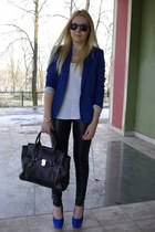 blue Zara blazer - black asos leggings - blue asos heels - white Zara top
