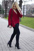 ruby red eastclothes sweater - black eastclothes boots - black Forever 21 jeans