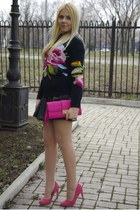 hot pink River Island bag - black Glamorous skirt - hot pink asos heels