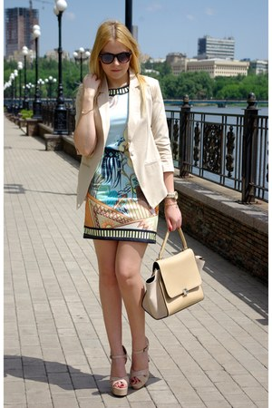 gold Rosewholesale bracelet - sky blue Sheinside dress - peach Chicwish bag