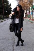 black leather H&M pants - dark gray Zara coat