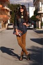 leopard print Zara pants - black leather Zara jacket