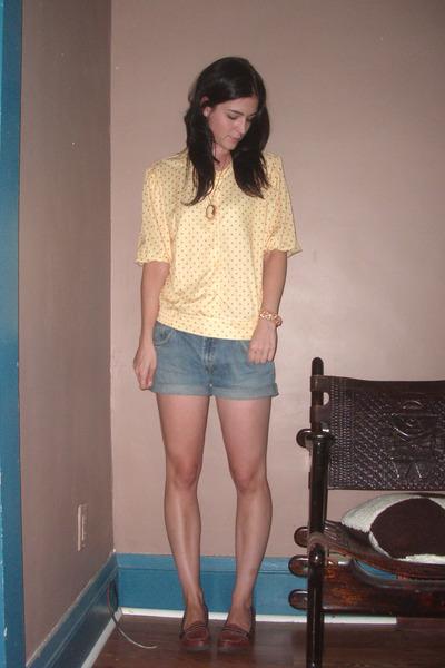 yellow flea market blouse - blue DIY shorts - orange flea market bracelet