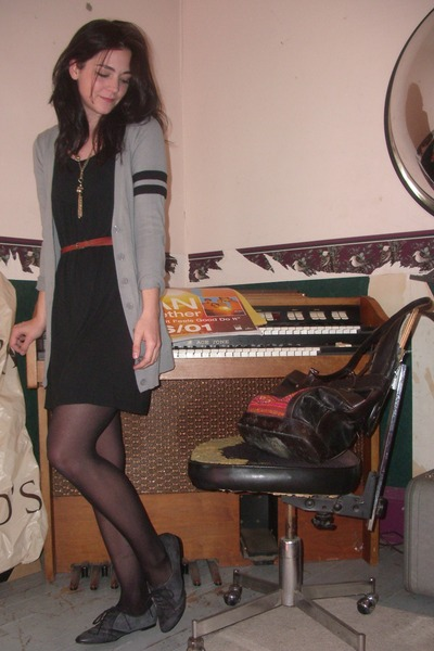 gray from Zellers cardigan - black hand-me-down dress - gray GoMax shoes - black