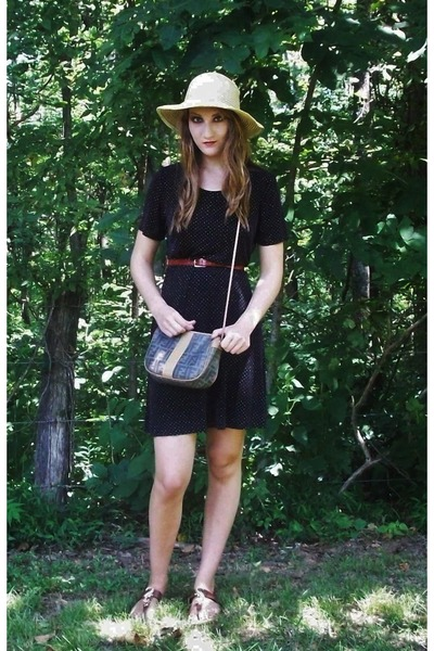 black black thrifted dress - tan straw Old Navy hat - Fendi bag