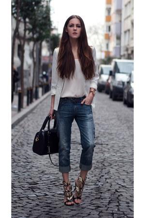 white white blazer PERSUNMALL blazer - black gold OASAP heels