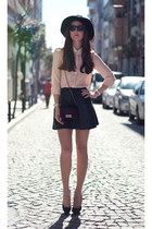 ivory chiffon OASAP blouse - black leather skirts Sheinside skirt