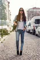 blue denim PERSUNMALL jeans - white knitted OASAP top