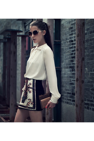 black nowIStyle skirt - white BangGood blouse