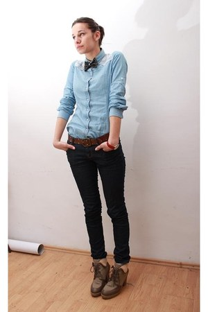 light blue Stradivarius shirt - brown H&M boots - navy jeans