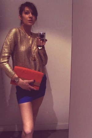 gold H&M blouse - carrot orange H&M bag - blue H&M skirt