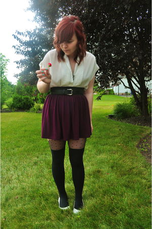 white thrifted blouse - purple Urban Outfitters skirt - black H&M tights