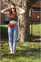 black polka dot crop Charlotte Russe top - sky blue hand-me-down jeans