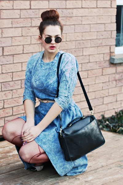 black messenger Urban Outfitters bag - sky blue dress
