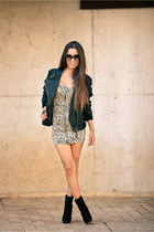 black Zara boots - beige h&m divided dress - black Zara jacket