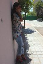 white Berskha blouse - blue Zara jeans - purple asos heels