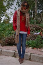 red Zara Trafaluc jacket - light brown Stradivarius boots