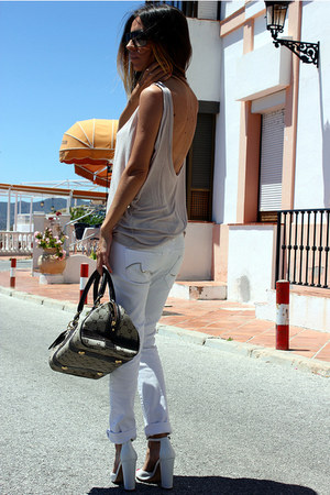 tan Oysho shirt - white Mango jeans - dark brown Pierre Cardin bag