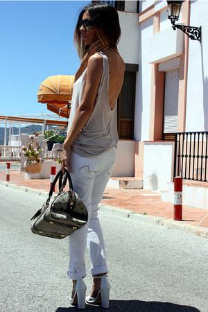 tan Oysho shirt - white Mango jeans - dark brown Pierre Cardin bag