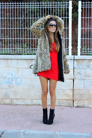 camel Zara coat - black Zara boots - red Zara dress