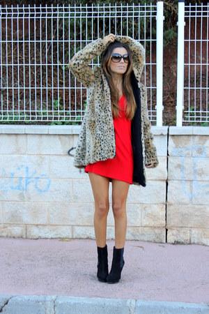 camel Zara coat - black Zara boots - red Zara dress
