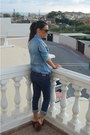 Denim-jeans-jeans-sunglasses-leather-heels-denim-shirt-blouse