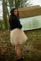 black thrift boots - light pink thrift Forever 21 dress - gray Ebay hat