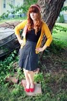 vintage scarf - black Target shirt - vintage skirt - red vintage flats