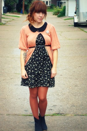 light pink Forever21 sweater - black Urban Outfitters boots - Von Maur dress