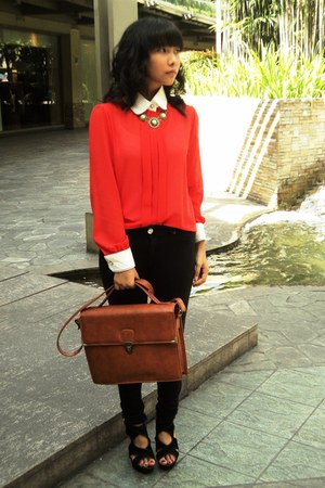 black Forever21 pants - tawny ichigo bag - ruby red iCandy blouse