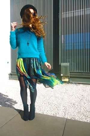 teal H&amp;M sweater - turquoise blue Runway Bandits skirt