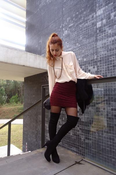 ruby red pull&bear skirt - black Stradivarius boots - black westrags coat