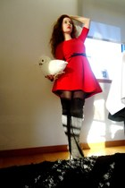 red Zara dress - black Stradivarius boots - black Primark belt - black Parfois r