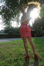 White-rare-top-coral-h-m-skirt-ruby-red-mango-heels