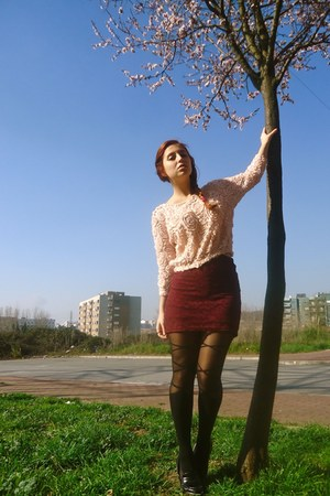 pull&bear skirt - Zara sweater - romwe tights