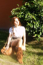 white Zara shirt - brown Bershka shorts - orange el corte ingles boots - orange