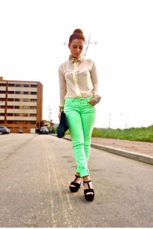 eggshell romwe shirt - black OASAP bag - chartreuse Zara pants