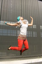 white Sfera shirt - orange Springfield pants - green DIY from Kookai belt - gree