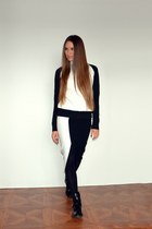 black asos skirt - black asos boots - white Zara sweatshirt