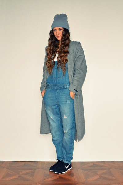 heather gray Zara coat - sky blue asos romper - black nike sneakers