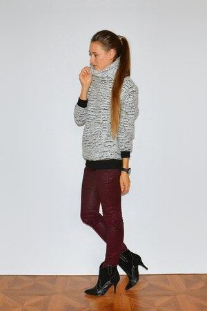 black Mango boots - crimson Massimo Dutti jeans - heather gray asos sweater