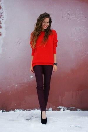 red asos sweater - crimson Massimo Dutti jeans - black Taobao pumps