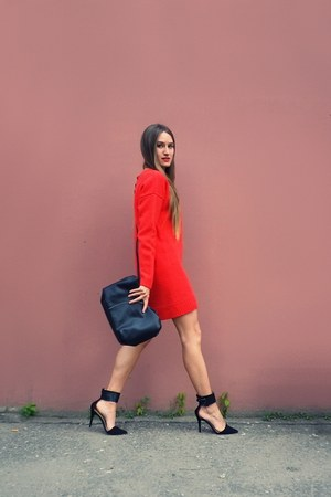 black nowIStyle bag - red asos dress - black Zara heels