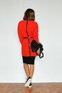 Red-asos-dress-black-cheap-monday-bag-black-stradivarius-loafers