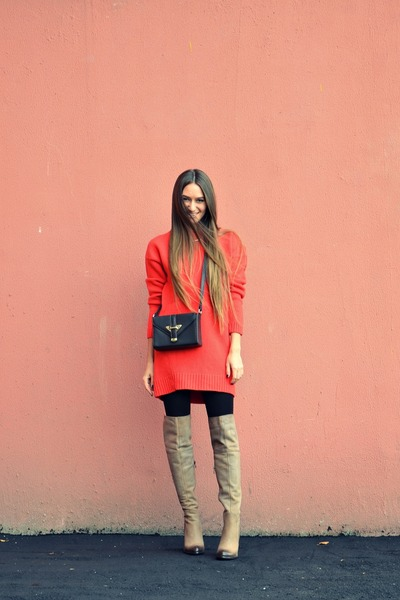 red asos sweater - dark brown Topshop bag