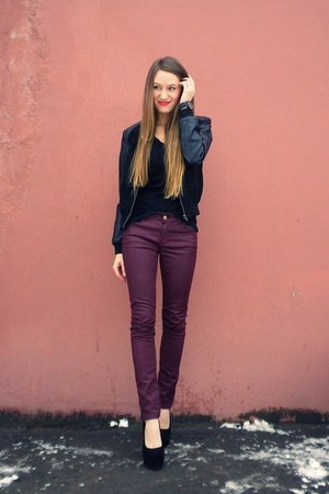 crimson Massimo Dutti jeans - black lindex jacket