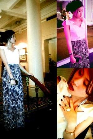 peach maxi skirt H&M skirt - white Target bag - gold unknown earrings